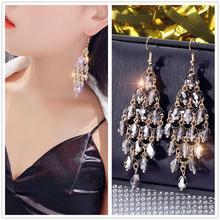 DREJEW Long Tassel Gold White Gray Rhinestone Pearl Statement Earrings 925 Drop Earrings Sets for Women Wedding Jewelry HE136 gold color with green gray pink tassel drop earrings