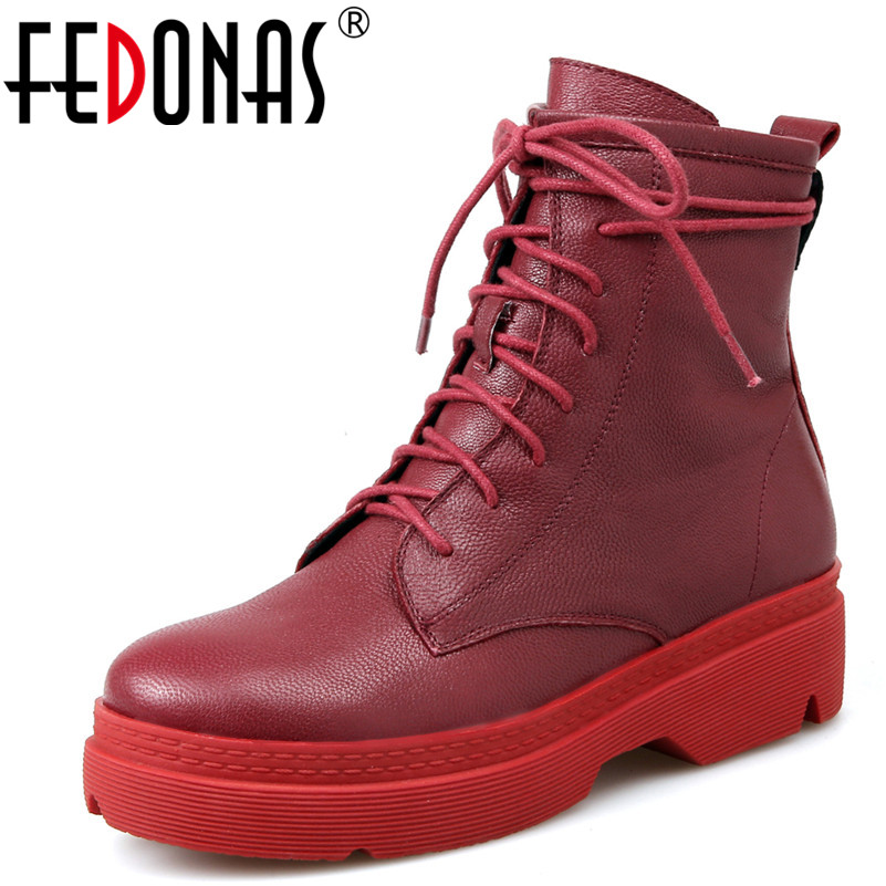 FEDONAS 1Fashion Women Ankle Boots Autumn Winter Warm Cross-tied Square Heels Shoes Genuine Leather Casual Martin Shoes Woman 2018 brand design shoes women mixed color chain cross tied women martin boots zip leather ankle botas femeninas casual shoes