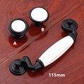 "115mm modern simple white black dresser handles knobs white ceramic drawer cabinet knobs pulls 4.5"" antique black handles knobs"