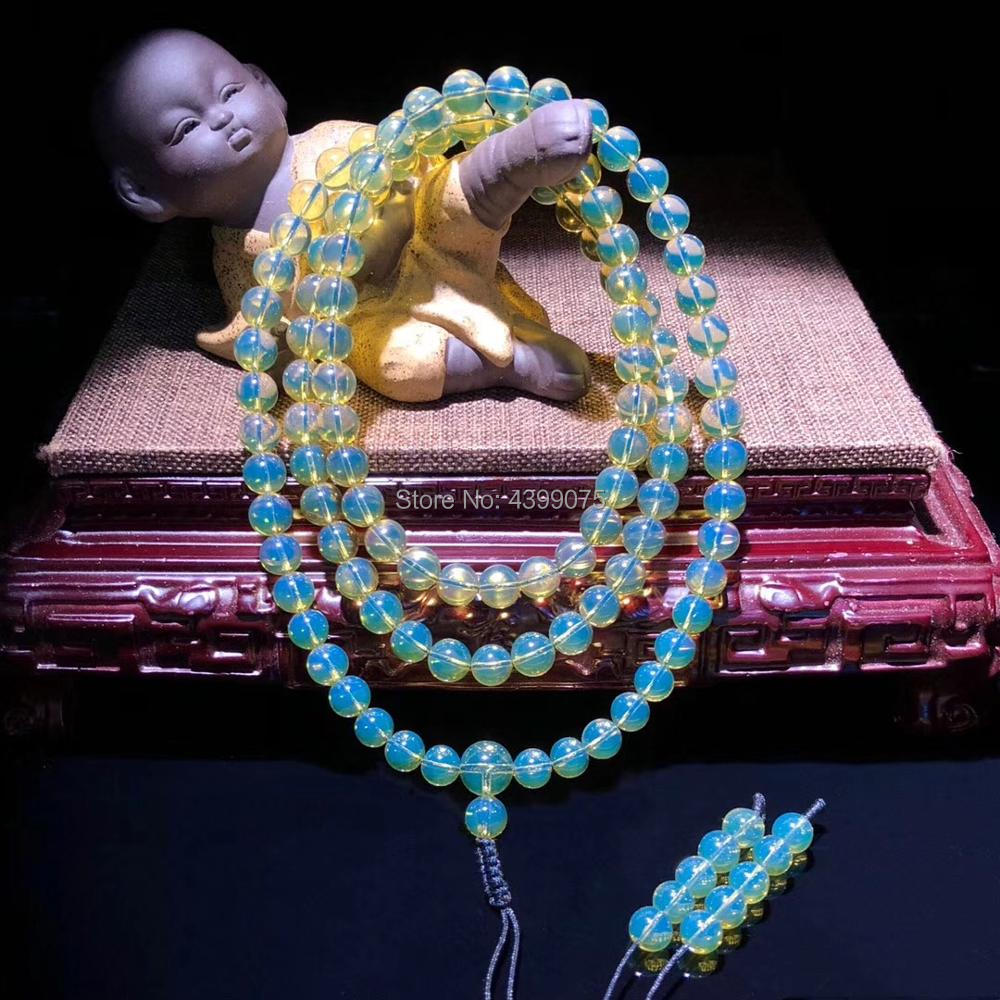 Wholesale 3A+Natural Mexican Blue Amber 108 Prayer Beads Buddha Mala 7mm+ Beads Certificated Amber Supplier Prayer Free Shipping