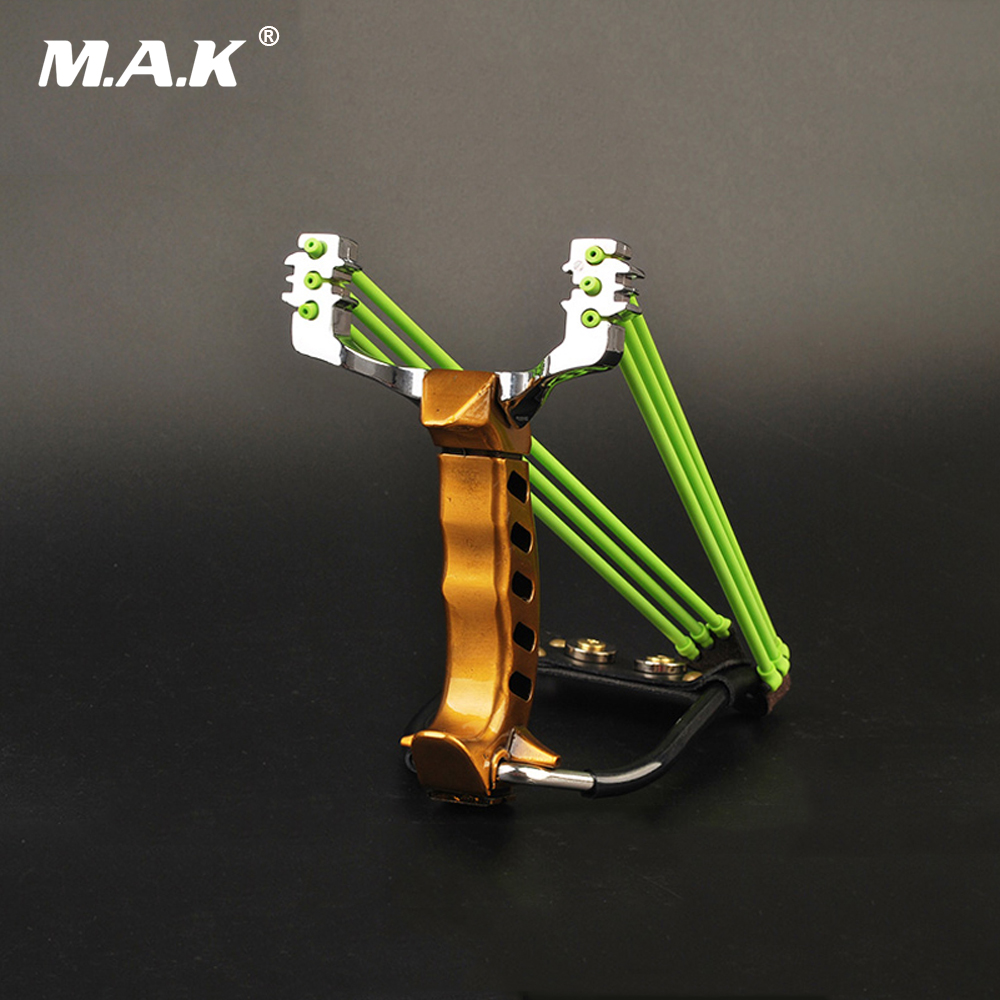 10 Styles Alloy Fish Slingshot with Flashlight and Two Rubber Band Accessories for Outdoor Archery Hunting Shooting