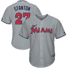 8c4ef8933 MLB Men s Miami Marlins Giancarlo Stanton Baseball Gray 2017 Stars    Stripes Cool Base Player Jersey