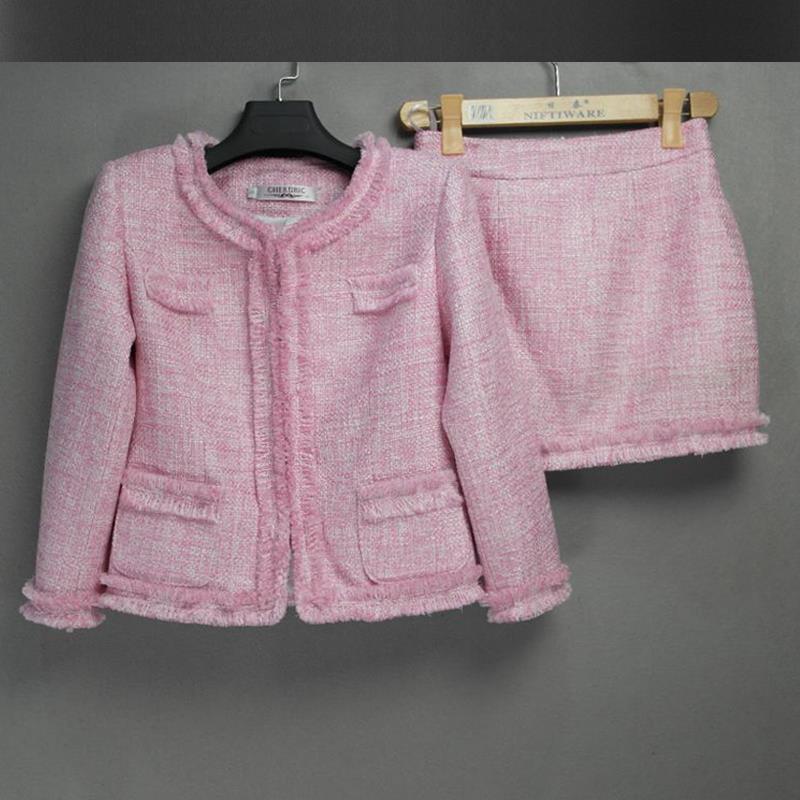 Aliexpress.com : Buy Pink tweed jacket   skirt suit spring ...