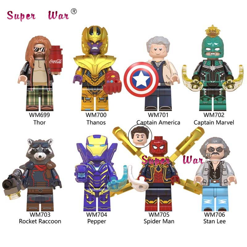 50pcs Avengers Endgame Fat Thor Thanos Pepper Iron Man Captain America Marvel Spider Man Stan building