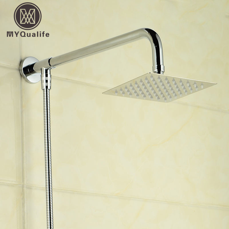 Free Shipping 6-inch Stainless Steel Ultrathin Shower Head +59 Stainless Steel Hose + 15 Shower Arm free shipping wall mount shower arm 8 inch ultrathin shower head chrome finish