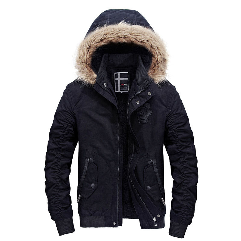 Coat Men Jacket Parkas Fur-Collar Thicken Fleece Men's Designer Plus-Size Winter Fashion
