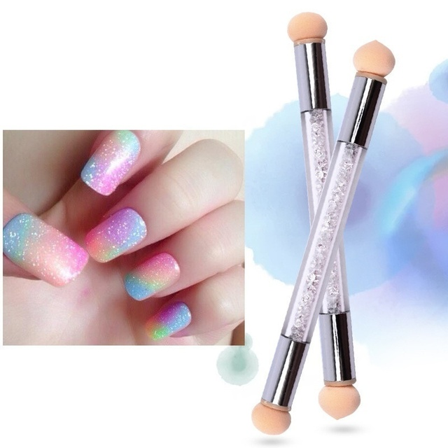 1 Pc Double-ended Gradient Shading Pen Dotting Brush Sponge Head Rhinestone Handle Nail Art Brush Nail Art Painting Tool 5