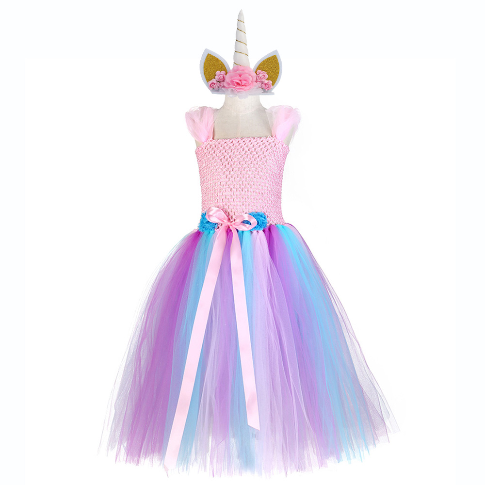 Girl Costume Tutu Dress Hot Girls Princess Cartoon Cosplay Doll Halloween Birthday Party Dresses Gifts Long