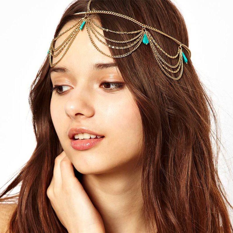 Indian Bridal Hair Accessories Gold Head Chain Women Vintage Boho Headpiece Hair Jewelry Wedding Green Color Forehead Tiara