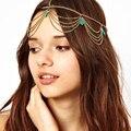 Indiano de cabelo acessórios de cabeça para mulheres Boho Headpiece cabelo jóias turquesa testa Tiara