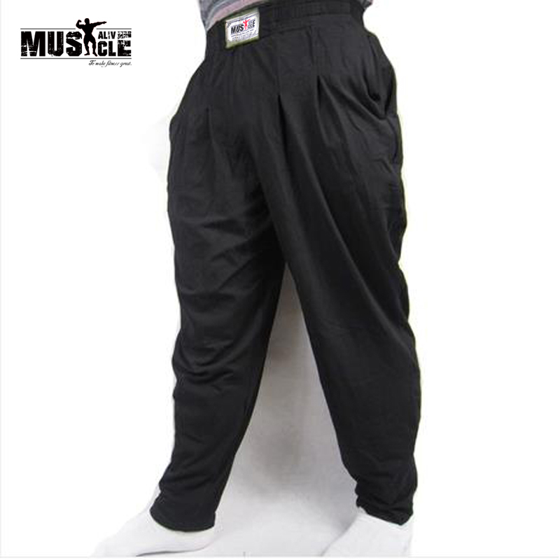 MUSCLE ALIVE Men's Baggy Pants For Bodybuilding Loose Workout Trouser Cotton High Elastic For Fitness Bodybuilder Gym Clothing(China)