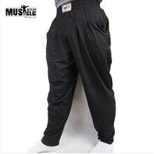 MUSCLE ALIVE, мужские мешковатые штаны для бодибилдинга, свободные штаны для тренировок, хлопок, высокая эластичность, для фитнеса, бодибилдера, одежда для спортзала
