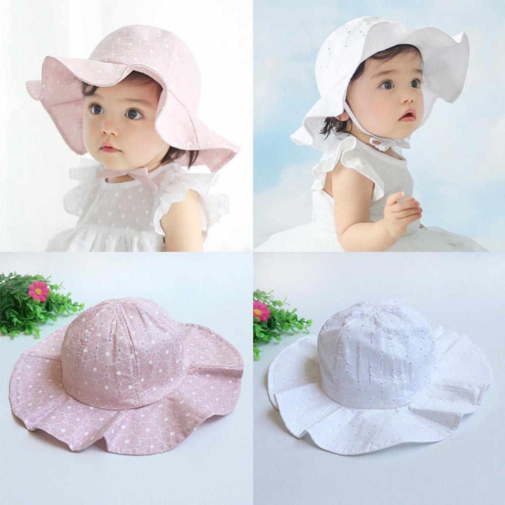 9d2f1951bdd4c0 Baby Girl Summer Hat Girls Solid Hats White Dot Caps Sun Hat For Girls  Toddler Sun