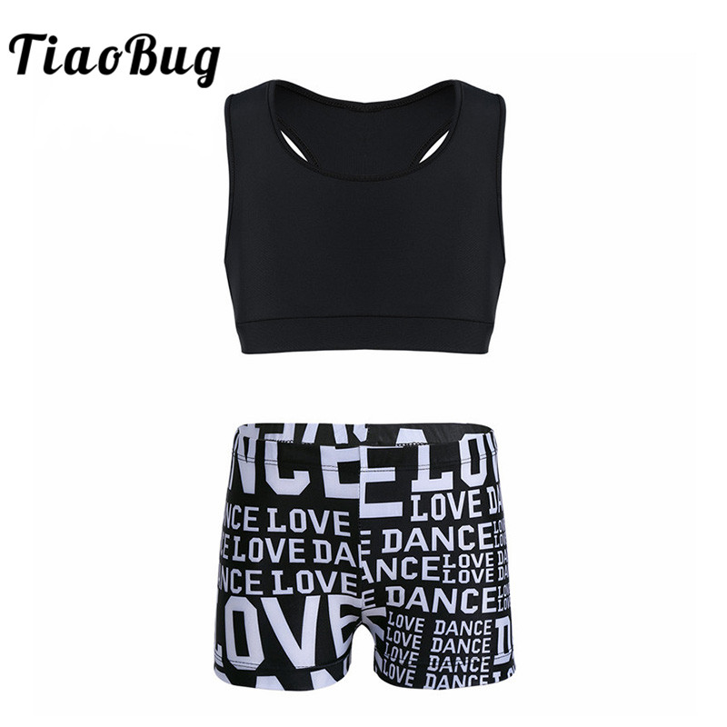 TiaoBug Girls Ballet Dance Costume Professional Girls Gymnastic Suits Shorts Crop Top Set Exercise Workout Sports Kids Dancewear