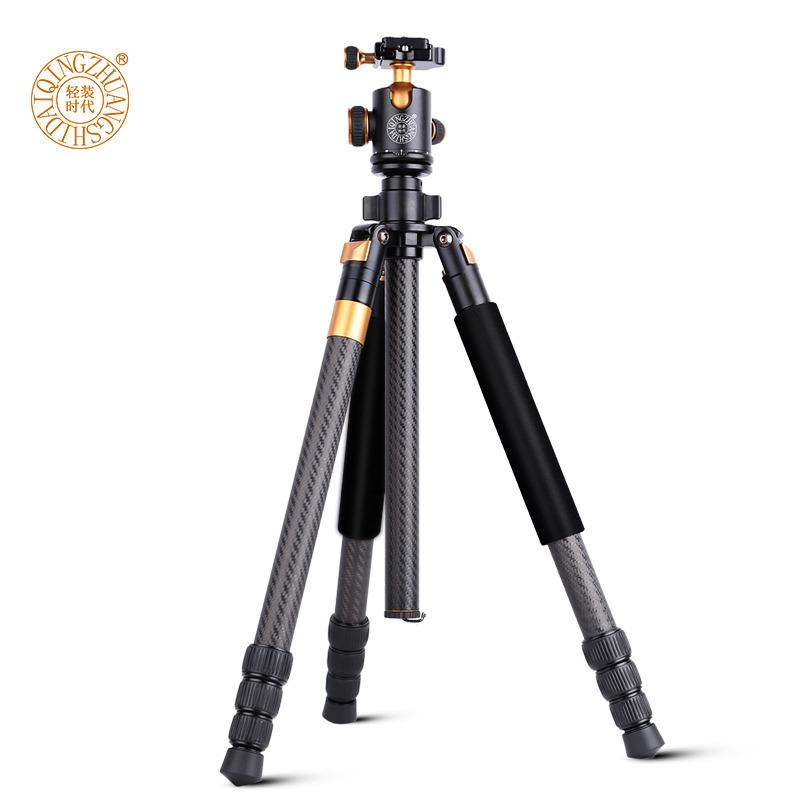 New QZSD Q968C 63-inch Professional Portable Carbon Fibre Camera Tripod with Ball Head For DSLR SLR Camera Stand Loading 10KG new benro c1580fb1 original tripod for slr camera reflexum professional tripod carbon fiber tripod
