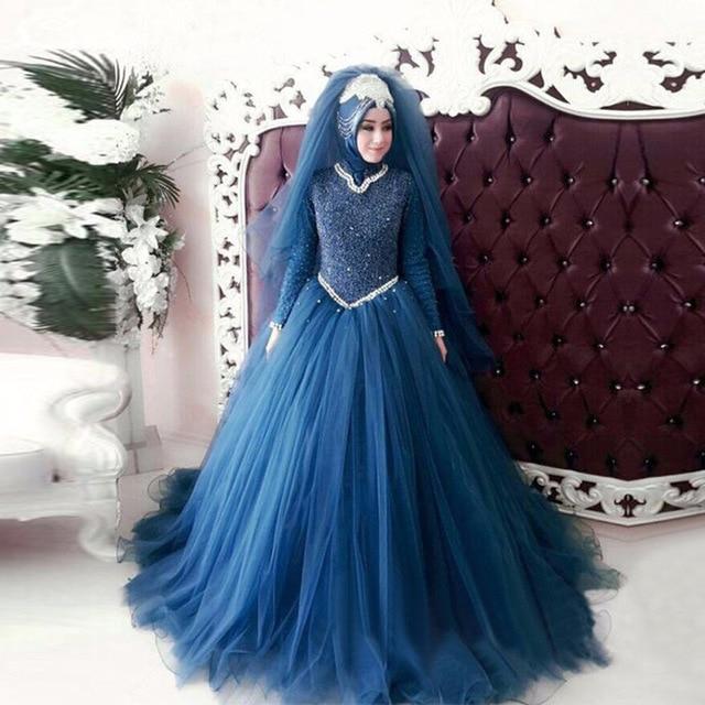 KSD764 Elegant Dark Blue Long Sleeve Lace Muslim Wedding Dresses ...