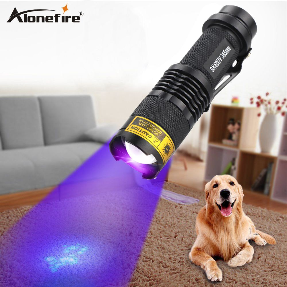 ALONEFIRE SK68uv LED UV Flashlight Purple Violet 365nm Light Adjustable focal Scorpion money Detection Lamp AA 14500 Battery