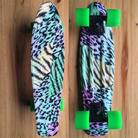 Colored Leopard Graphic Printed Mini Cruiser Plastic Skateboard 22 X 6 Retro Longboard Skate Long Board