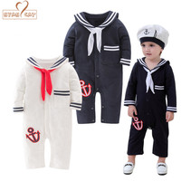 NYAN CAT Baby Sailor Costume Anchor Romper Navy Costumes For Infants Toddler White Cotton Long Sleeve