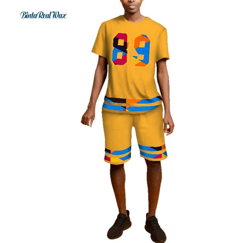 Nouvel été 100% haut en coton et pantalons courts ensembles africain cire imprimer 2 pièces pantalons ensembles traditionnels hommes africains vêtements WYN489