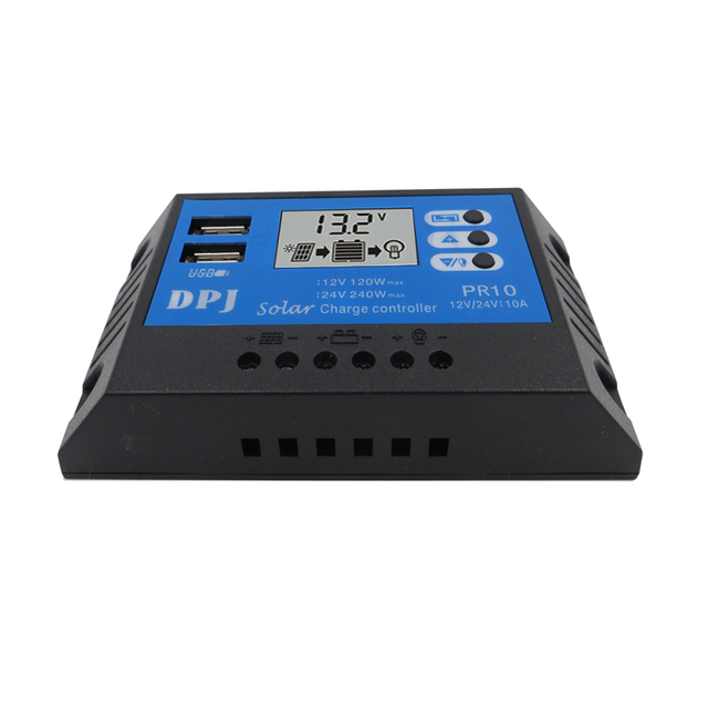 10A 20A 30A 60A 80A RP10 DC 12V 24V Auto Solar Panel PWM Solar battery charger Voltage Control with LCD Display and 5V