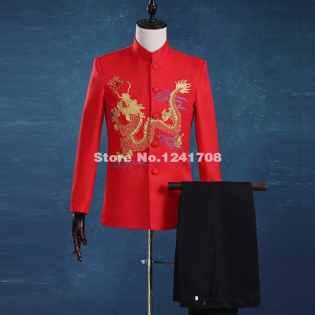 Hot Sale Chinese Style Gold Embroidery Dragon Men's suits tailor suit Blazer suits Red Stand Collar Suit (Jacket+Pants)