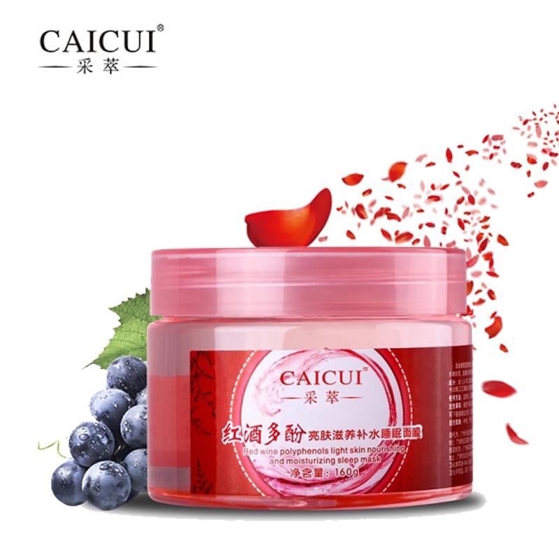2 Pcs CAICUI Red Wine Essence Sleeping Mask No Wash Moisturizing Night Cream Anti Aging Anti Wrinkle Nutrition Facial Cream