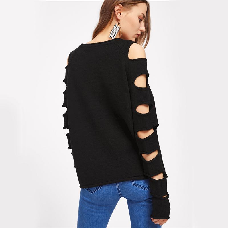 HTB14CptSFXXXXbZapXXq6xXFXXXB - Cut Out Sleeve Sweater Black Sexy Slim Pullover PTC 207
