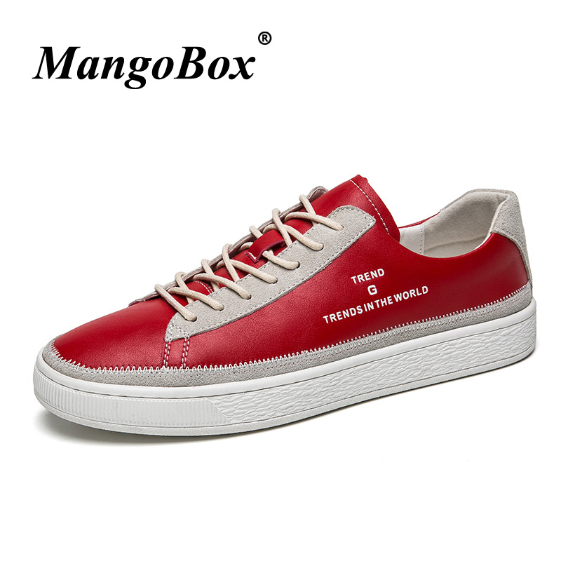 Branded Casual Shoes For Men Wearable Casual Sneakers Male Comfortable Mens Shoes Original Pu Leather White Red Mens Flats Shoes