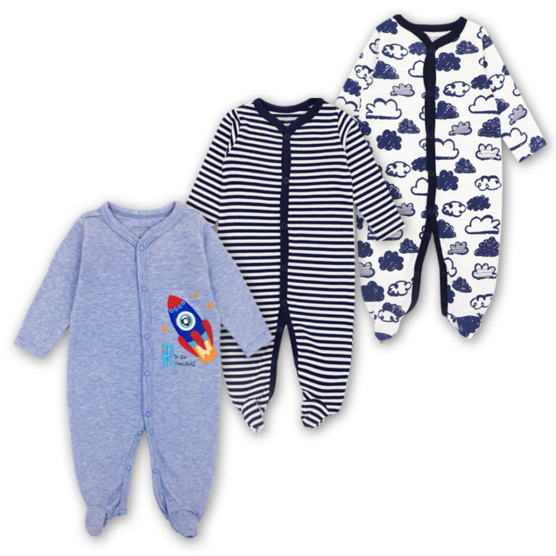 3 Pack Newborn Baby Girl Boy Clothes Long Sleeve 3-12 Months 100%cotton Cute Cartoon Print Infant   Rompers