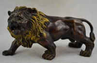 Copper Brass CHINESE crafts Asian 6.2 inch / Elaborate Old Chinese hand carved copper fierce lion statue sculpture navidad