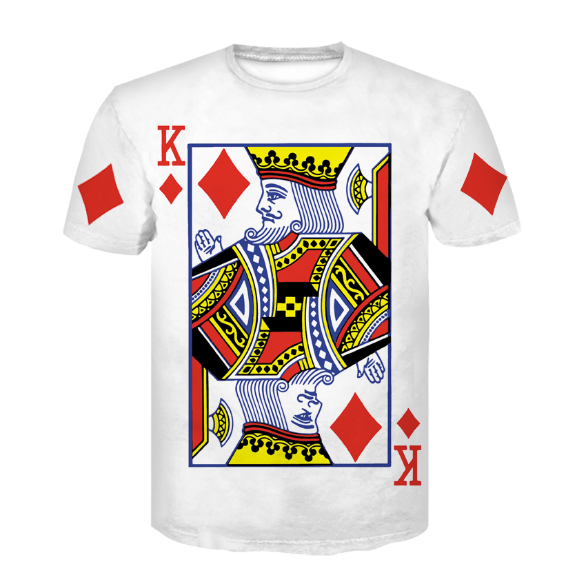 Sommer Stil Hip Hop T Hemd Männer/frauen Spielkarten Drucken 3d T Shirt Harajuku Kleidung Camisa Masculina Größe könig Poker Hemd