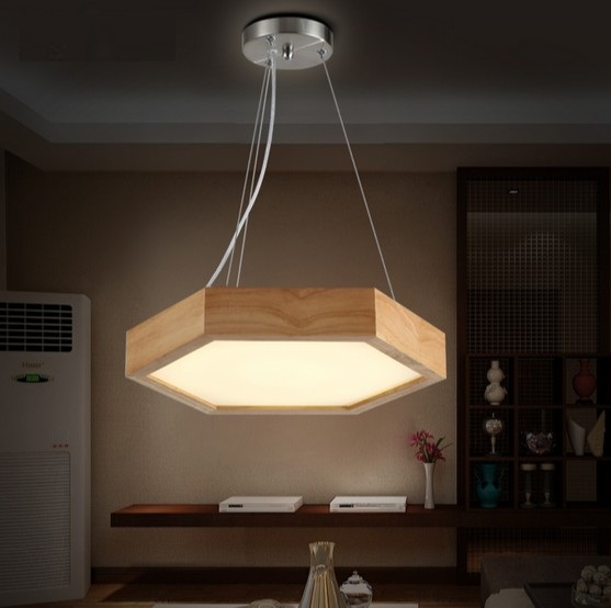 Simple Fashion Wood Art Droplight Modern LED Pendant Light Fixtures Dining Room Hanging Lamp Home Lighting