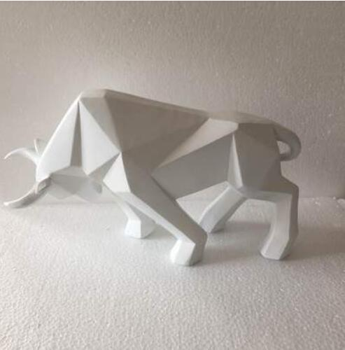 Geometric Cattle Statue OX Bull Sculpture Ornament Abstract Animal Figurines Room Desk Decor Home Decoration Accessories Morden in Statues Sculptures from Home Garden