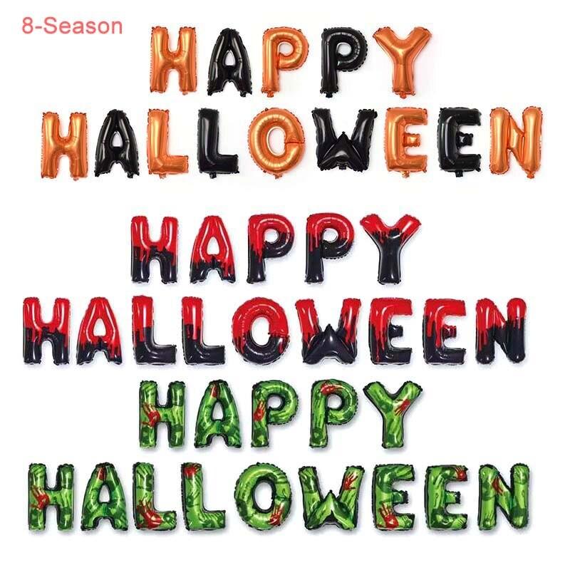 8-Season 14pcs 16inch Happy Halloween Banners Garland Decor Set Foil Ghost Latex Balloons