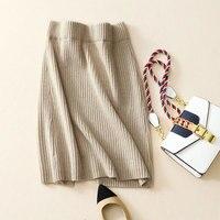 Свитер и юбка кашемир 2018 100% из чистого кашемира трикотаж с коротким Юбки карандаши Для женщин эластичные Вязание мягкие юбка пачка для зимы