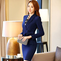 Black OL Business skirt Suits Women 2 piece set 2016 New Formal Office Lady Work Suits V-Neck Coat with Trousers skirts Bow tie