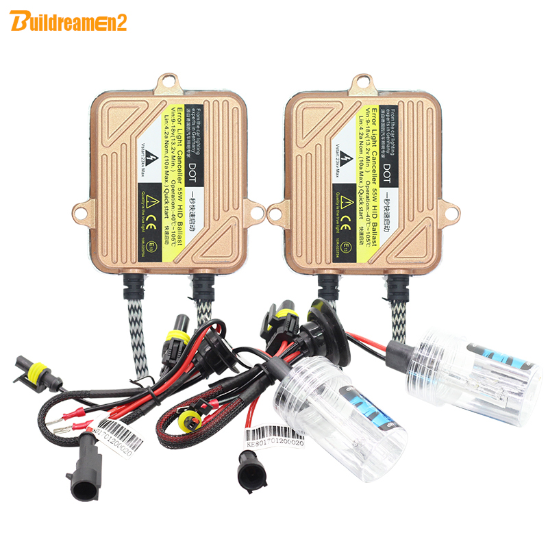 Buildreamen2 H1 H3 H4 H7 H8 H9 H11 9005 9006 9007 880 881 55W Auto HID Xenon Kit Ballast Bulb Car Light Headlight DRL Fog Lamp pair 9600lm w cree cob chips h1 h3 h4 h7 h8 h9 h11 880 881 9005 9006 9012 car led headlight kit bulbs 6000k white