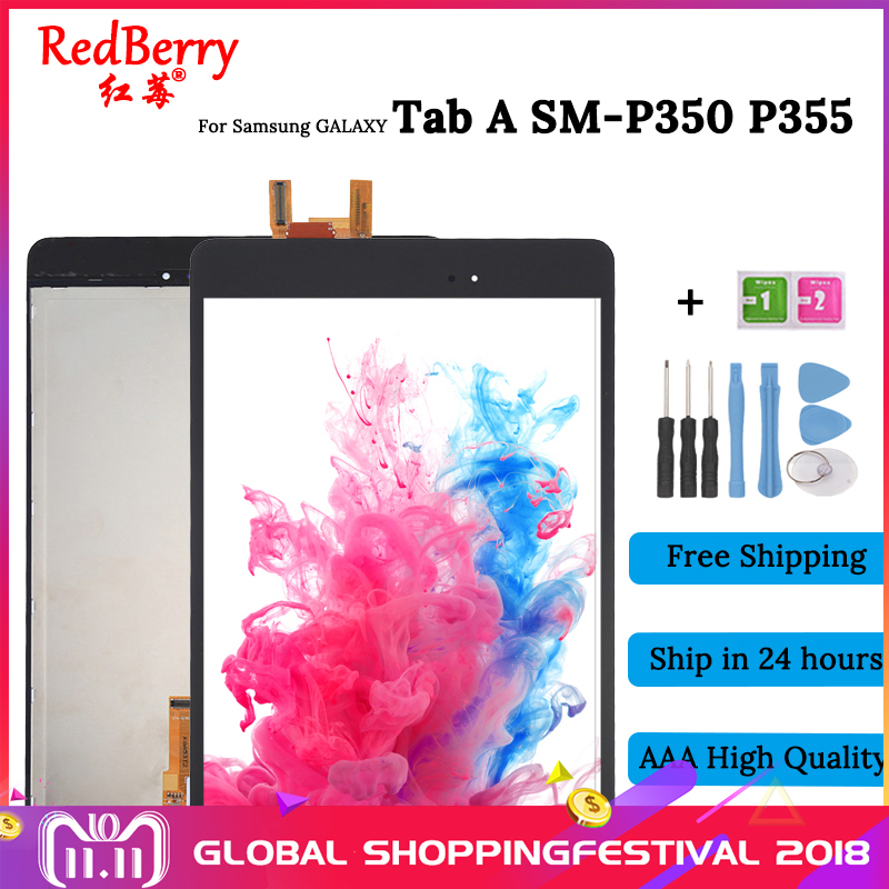 100%Test New 8 For Samsung Galaxy Tab A SM-P350 P350 SM-P355 P355 LCD Display + Touch Screen Digitizer Full Assembly new 8 for samsung galaxy tab a p350 lcd display with touch screen digitizer sensors full assembly panel lcd combo replacement