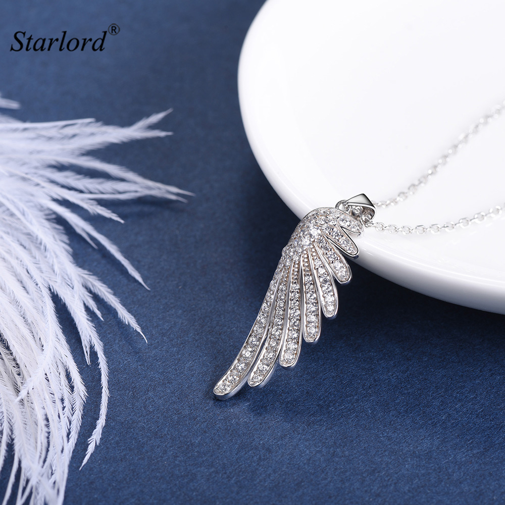 Silver Angel Wing Necklace For Women/Girls 925 Sterling Silver AAA Cubic Zirconia Guardian Angel Necklace Gift For Her P6044B