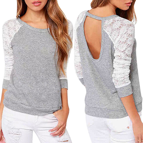 Women's Long Sleeve Sexy Lace  Backless Embroidery Knitted Tops Pullover