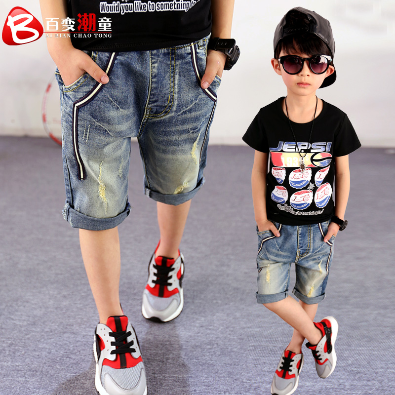 Boys pants children's denim clothes 2018 new summer boys shorts knee length leggings big kids casual 100% cotton capris trousers new summer softener thin denim shorts mens straight lightweight baggy knee length jeans pants men dms 995
