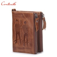 CONTACT'S 2017 New Brand Design Men's Wallet Zipper Pure Purses Brand Leather Genuine Short Wallets Clutch Currencies Bags