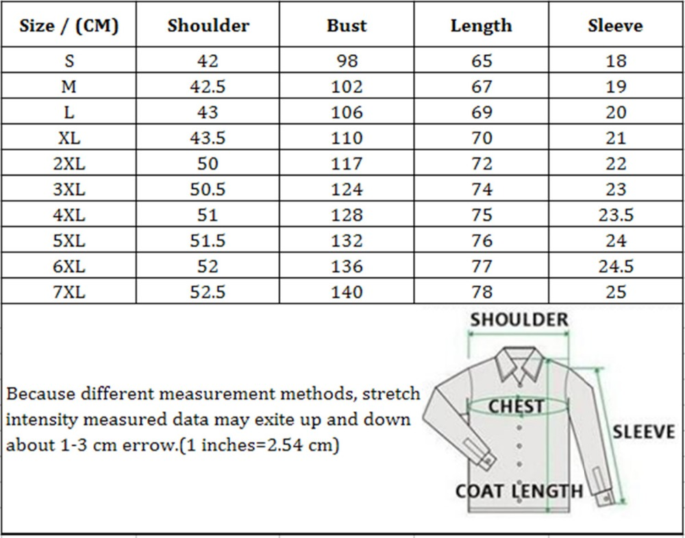 Size Chart for Tshirts_