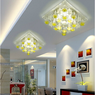 5w LED lighting chandelier lamp for living room home modern hallway light ceiling crystal lampshade led panel 220-240V abajur