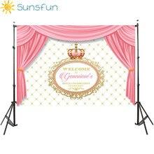 Sunsfun 7x5FT Pink Curtains Cute Crown Happy Birthday Background Photo Studio New Design Camera Fotografica 220x150cm