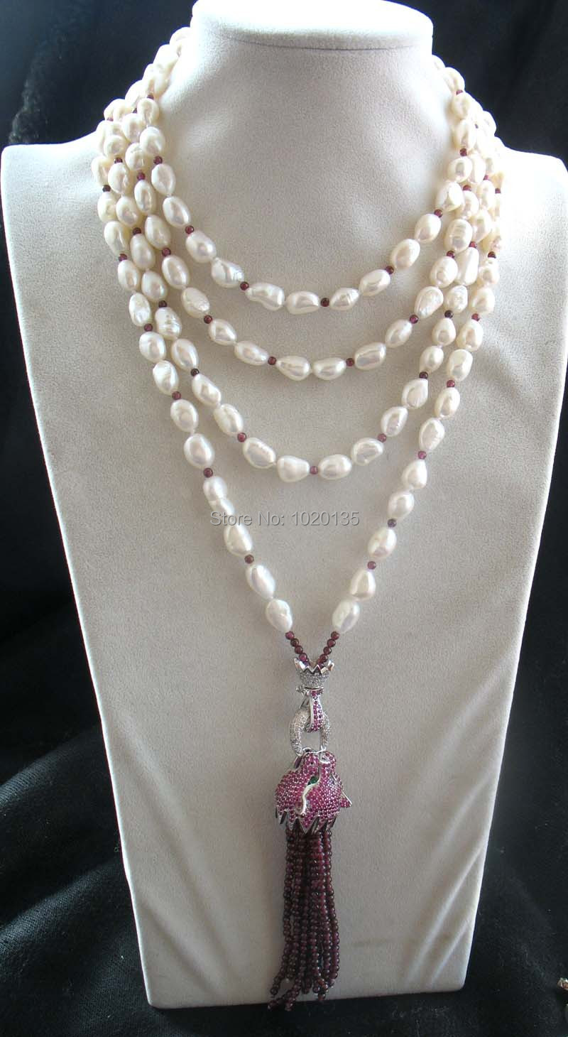 все цены на freshwater pearl white baroque red leopard clasp red garnet round necklace 70