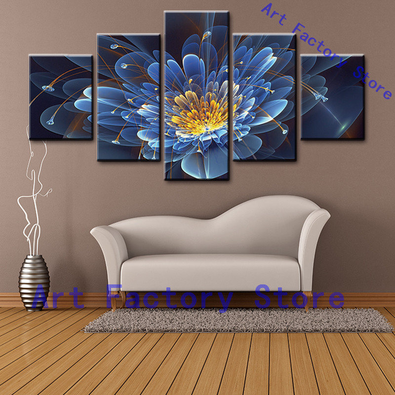 Home Decor 5 Piece Canvas Wall Art Painting Blue Back ...