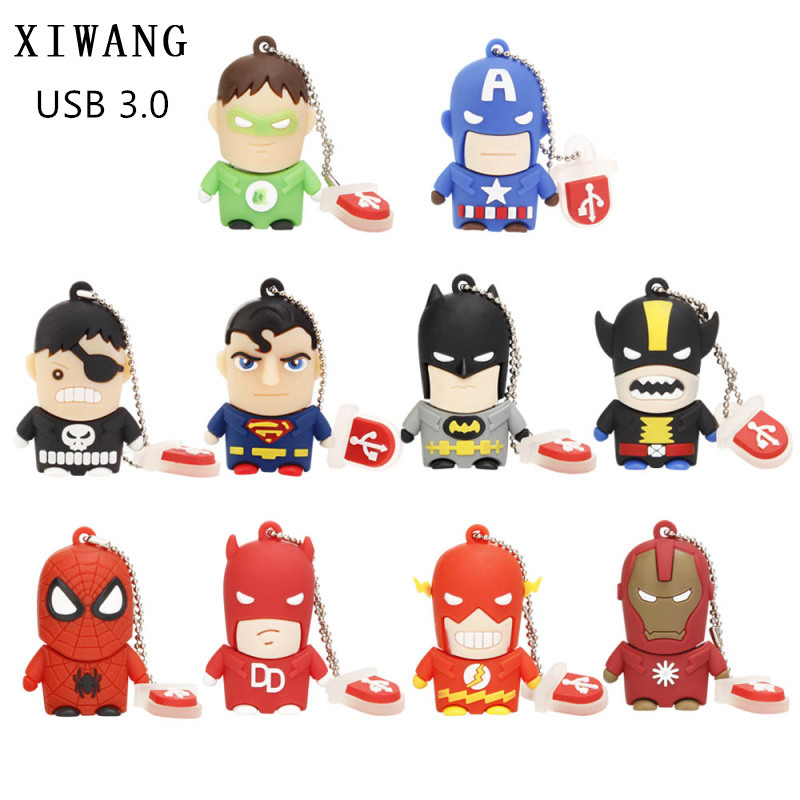 Usb Flash Drive Cartoon Flash Memory Usb 3.0 Superhero Avengers Batman Spiderman Pendrive 4gb 8gb 16gb 32gb 64gb 128GB Best Gift