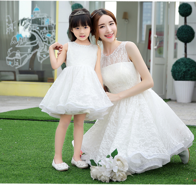 Lace white mommy and me dress solid elegant mother for Mother daughter dresses for weddings